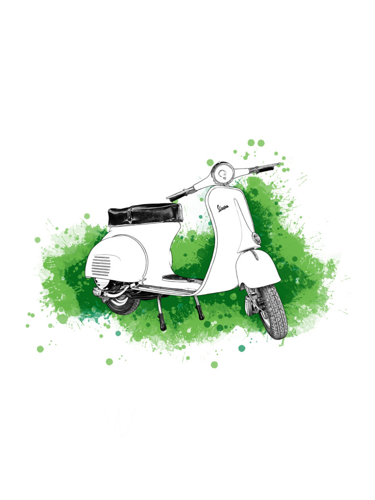 Ilustración Digital Vespa by MaldeCap